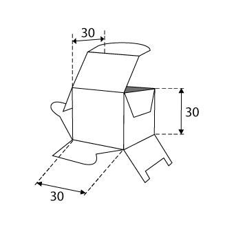 Faltschachteln mit Steckboden 30x30x30mm