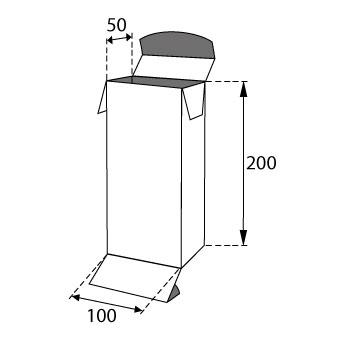 Faltschachteln mit Einstecklaschen 100x50x200mm
