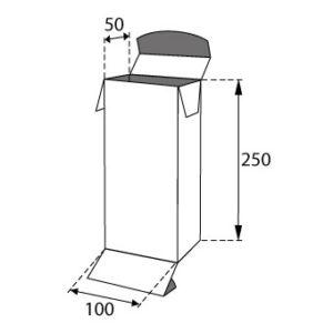 Faltschachteln mit Einstecklaschen 100x50x250mm