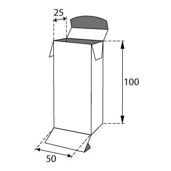 Faltschachteln mit Einstecklaschen 50x25x100mm