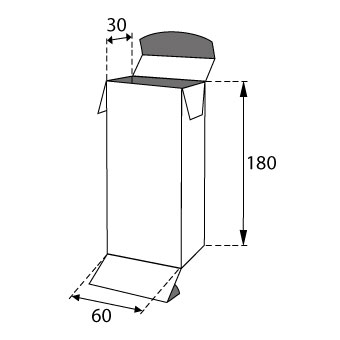 Faltschachteln mit Einstecklaschen 60x30x180mm